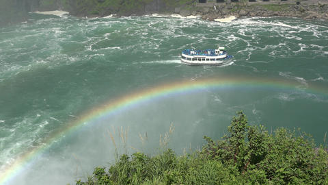 Rainbow on River and Ferry Boat Footage
