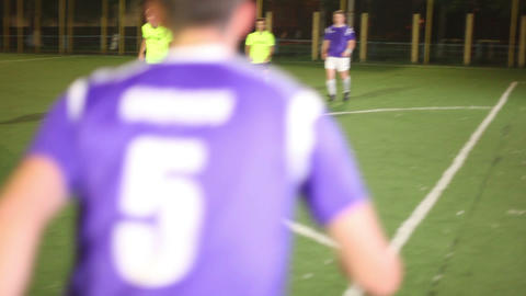 Few passes and shot on goal. Amateur football team training Footage
