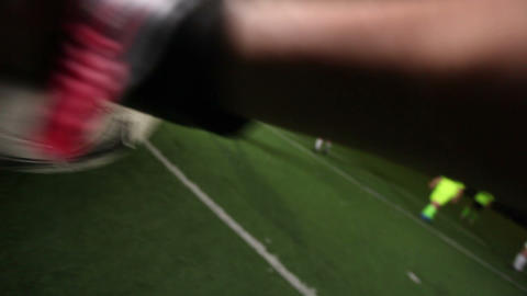 Goalkeeper POV of penalty kick. Save. Youth playing football (soccer) Footage