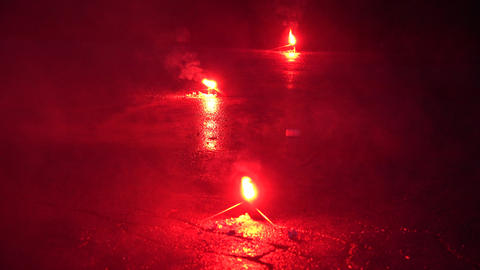 Red Emergency Road Flare Footage