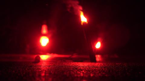 Red Emergency Road Flare Stock Video Footage