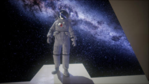 astronaut on space base in deep space Live Action