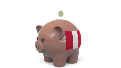 Putting money into piggy bank with flag of Peru. Tax system system or savings Live Action