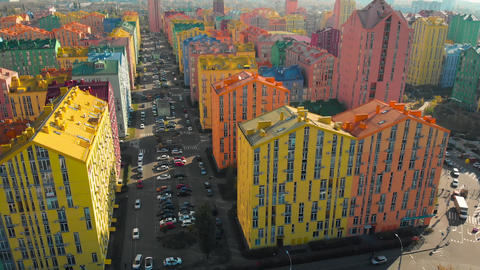 Modern residential complex with colorful houses Footage