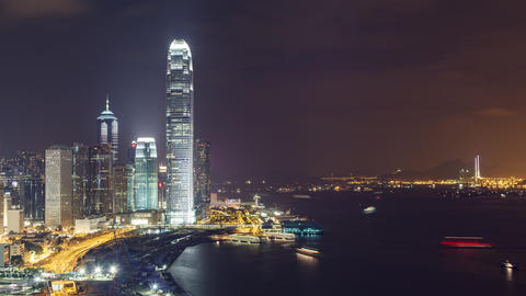 Time Lapse of the amazing skyline of Hong Kong at night Archivo