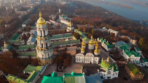 Aerial view of Kiev Pechersk Lavra at sunset, Kiev ビデオ