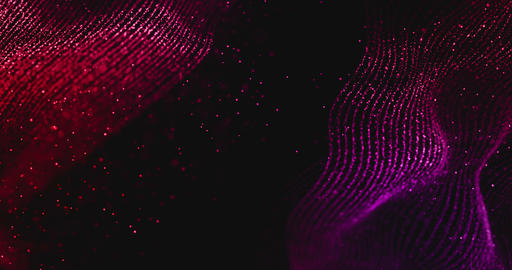 abstract multi-color geometrical plexus on black background with lines and dots movement Footage