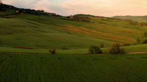 Flying over the amazing rolling hills of Tuscany Italy Archivo