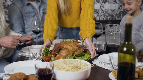 Close view of plate with roast turkey and vegetables which prepared for family Live Action