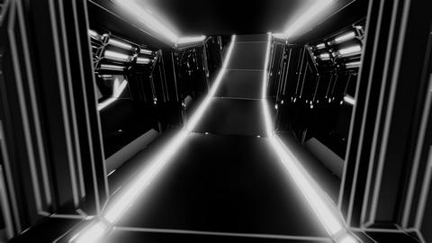 futuristic scifi tunnel corridor 3d illustration with glowing lights and glass Animation