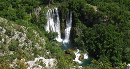 Manojlovac Waterfall, Krka Natural Park, Near Sibenik in Damaltia, Croatia, Real Time 4K Footage