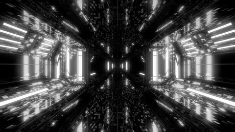 futuristic scifi space hangar tunnel corridor 3d illustration with bricks Animation