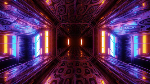 futuristic scifi space hangar tunnel corridor 3d illustration with abstract eye Animation