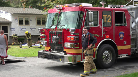Fire Truck at House Fire Footage