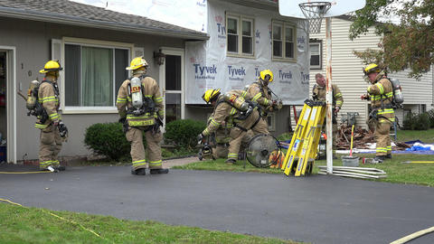 Firefighters at House Fire Footage