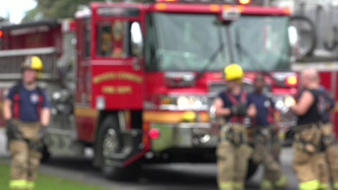 Fire Trucks and Firefighters Footage
