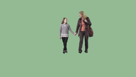 Mother and daughter are going at the camera. Transparent background Footage