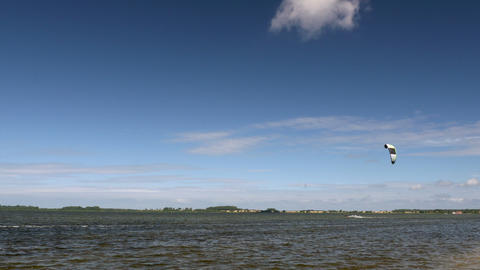 Kite Surfing in Ocean, Extreme summer sport. Kite Boarding in Baltic Sea Footage