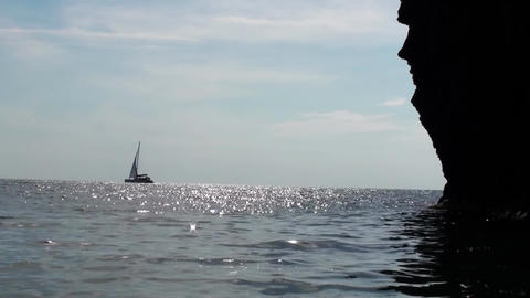 Sailing Ship In The Sparkling Sea Footage