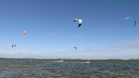 Kite Surfing in Ocean, Extreme summer sport. Kite Boarding in Baltic Sea Footage