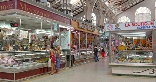 Mercado Central or Mercat Central (Central Market) In Valencia Footage