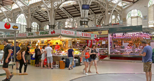 Mercado Central or Mercat Central (Central Market) In Valencia Footage