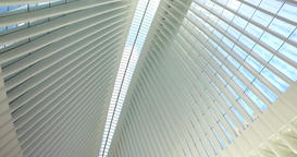 Looking Up at Ceiling of the Oculus Transportation and Shopping Hub Footage