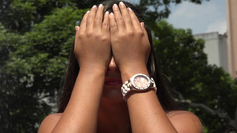 Woman Covering Her Eyes Footage