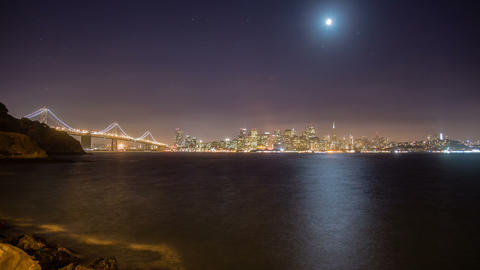 Time Lapse - San Francisco Skyline at Night with Waterfront Footage