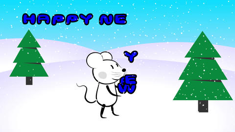 Mouse rat character juggling with new year sign Footage