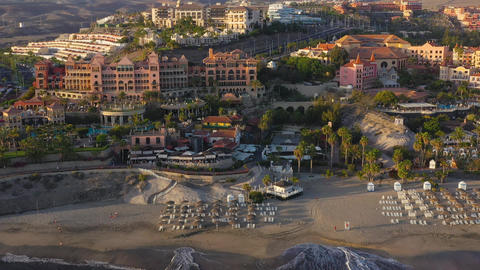Aerial view of Los Cristianos, Las Americas and Adeje, Canary Islands, Tenerife Live Action