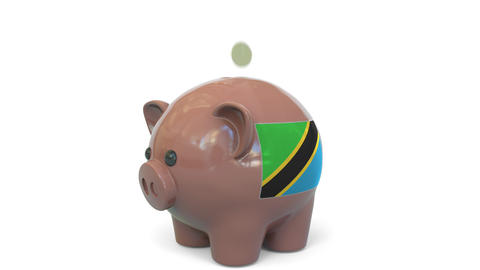 Putting money into piggy bank with flag of Tanzania. Tax system system or Live Action