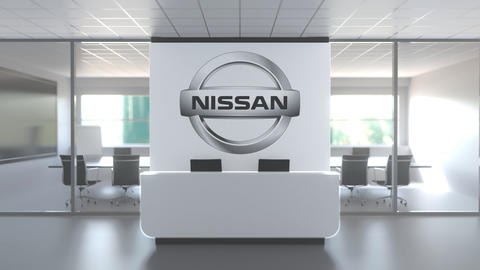 NISSAN logo above reception desk in the modern office, editorial conceptual 3D Live Action