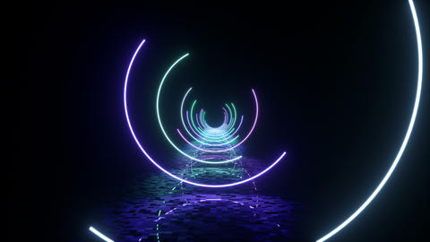 3d rendering of the glowing of circles Videos animados
