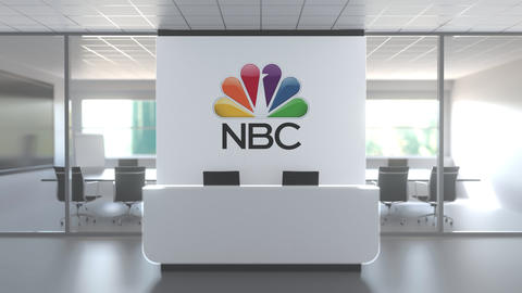 NBC logo above reception desk in the modern office, editorial conceptual 3D Live Action