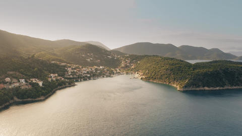 Aerial shot of the Kioni Bay and the village. Ithaca island, Greece Footage