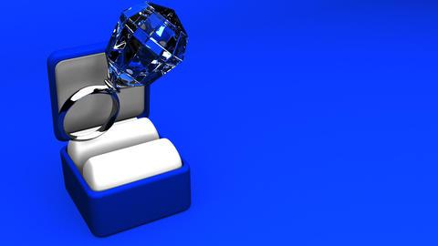 Big Diamond Ring On Blue Text Space CG動画