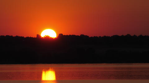 Sunrise over Lake at Dawn Real Time Footage