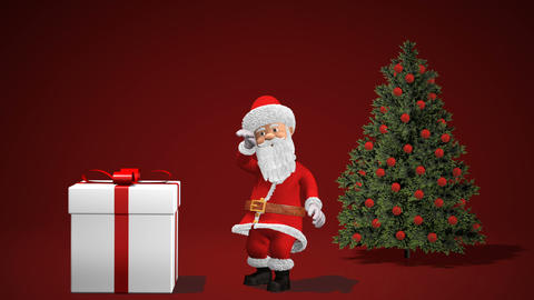Merry Christmas and Happy New Year 2019 animation. Santa Claus with a Christmas Archivo