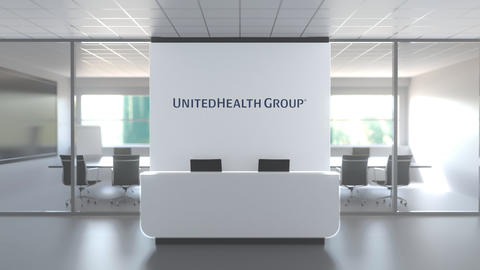 Logo of UNITEDHEALTH GROUP on a wall in the modern office, editorial conceptual Live Action