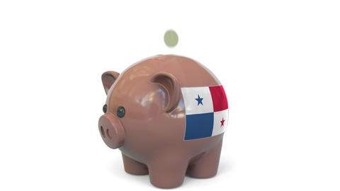 Putting money into piggy bank with flag of Panama. Tax system system or savings Live Action
