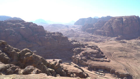 ancient city petra looking from the top tracking shot Footage