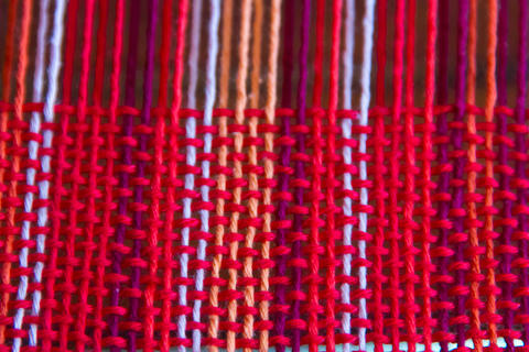 woven texture background on the loom フォト