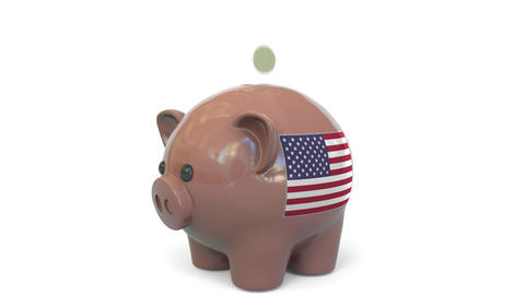 Putting money into piggy bank with flag of the United States. Tax system system Live Action