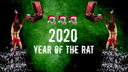 Musical Poster.Symbol of 2020.2020 year of the rat.Retro vinyl Gramophone Archivo