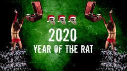 Musical Poster.Symbol of 2020.2020 year of the rat.Retro vinyl Gramophone Footage
