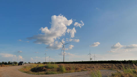 Scenic landscape of the wind turbine for electric power make against nature agriculture farm for Live Action