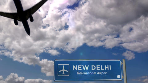 Airplane landing at New Delhi Live Action