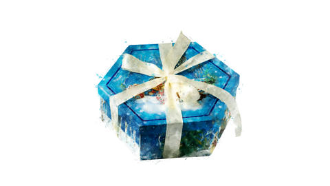 Watercolor Christmas tree decoration - hexagon gift box, on the alpha channel Animation