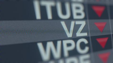 VERIZON COMMUNICATIONS VZ stock ticker with decreasing arrow, conceptual Footage